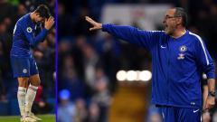 Indosport - Striker dan Pelatih Chelsea, Alvaro Morata (kiri) - Maurizio Sarri.