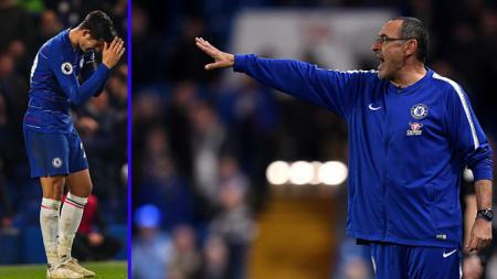 Striker dan Pelatih Chelsea, Alvaro Morata (kiri) - Maurizio Sarri. - INDOSPORT