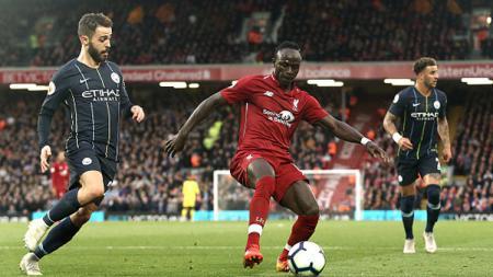 Sadio Mane saat sedang melawan Manchester City. - INDOSPORT