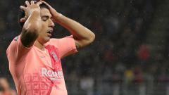 Indosport - Ekspresi Luis Suarez saat gagal memanfaatkan peluang.