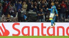 Indosport - Lorenzo Insigne berselebrasi usai mencetak gol ke gawang PSG.