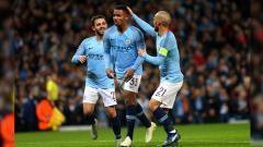 Indosport - Selebrasi Pemain Manchester City, Gabriel Jesus usai mencetak gol.
