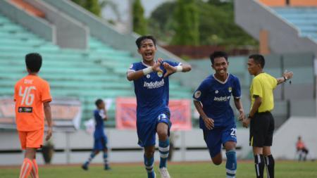 Selebrasi Beckham Putra Nugraha di laga Persija U-19 vs Persib U-19. - INDOSPORT