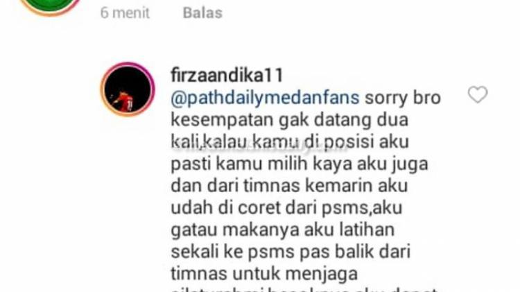 Firza Andika soal dirinya yang tidak perkuat PSMS Medan. Copyright: Istimewa