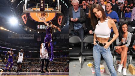LA Lakers raih kemenangan (kiri) dan Emily Ratajkowski yang hadir dalam laga tersebut. - INDOSPORT