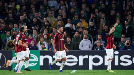 Para pemain AC Milan merayakan gol Suso. - INDOSPORT