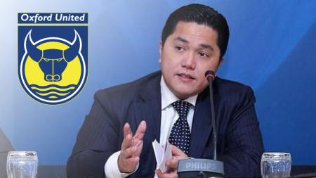 Erick Thohir dan logo Oxford United - INDOSPORT
