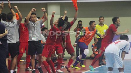 Timnas Futsal Indonesia berhasil mengalahkan Chinese Taipei dengan skor 7-0 pada pertandingan pertama Kejuaraan Futsal 2019 di GOR Universitas Negeri Yogyakarta, Jumat (06/09/19). - INDOSPORT