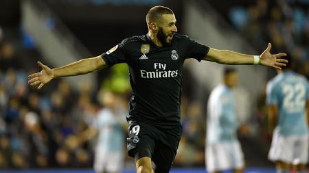 Striker Real Madrid, Karim Benzema, masih jadi pemuncak top skor LaLiga Spanyol dengan torehan lima gol. Octavio Passos/Getty Images. - INDOSPORT