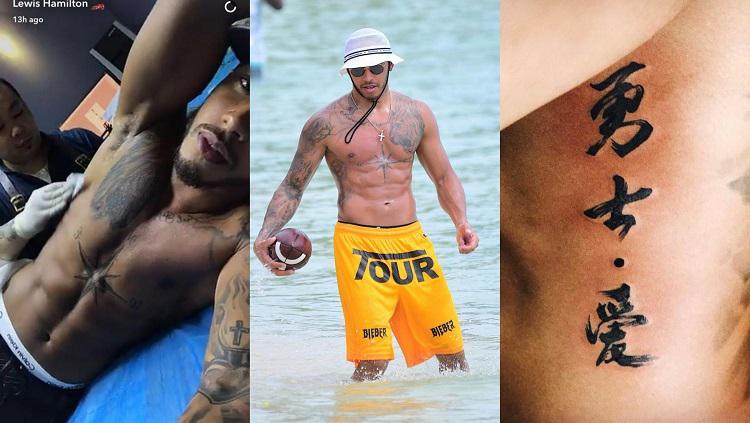 Lewis Hamilton memiliki beberapa tatto Copyright: The Sun