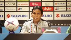 Indosport - Pelatih Timnas Indonesia Bima Sakti, saat konfrensi pers.