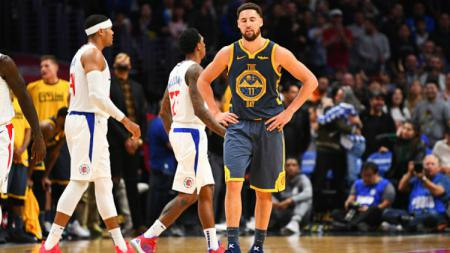 Klay Thompson di detik-detik terakhir pertandingan NBA Los Angeles Clippers vs Golden State Warriors. - INDOSPORT