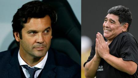 Pelatih Real Madrid, Santiago Solari dan Diego Maradona, legenda sepak bola asal Argentina. - INDOSPORT
