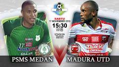 Indosport - Pertandingan PSMS Medan vs Madura United.
