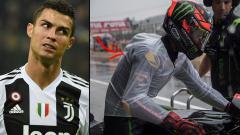 Indosport - Pemain megabintang Juventus, Cristiano Ronaldo dan Hafizh Syahrin, pembalap MotoGP yang mengenakan jas hujan khusus.