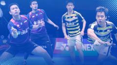Indosport - Mohammad Ahsan/Hendra Setiawan vs Kevin Sanjaya Sukamuljo/Marcus Fernaldi Gideon