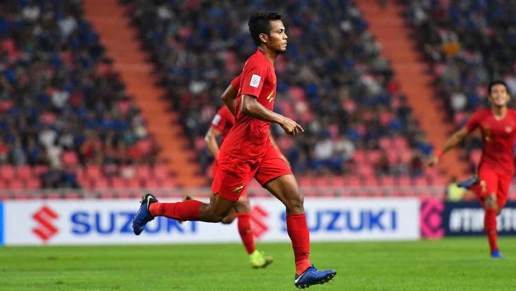 Zulfiandi melakukan selebrasi usai cetak gol ke gawang Thailand Copyright: www.affsuzukicup.com