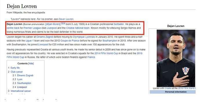 Wikipedia milik Lovren diubah oleh fans Real Madrid dengan kalimat lucu Copyright: The Sun