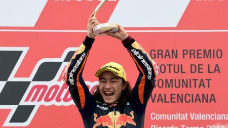 Pembalap Turki, Can Oncu yang memenangkan Moto3 Valencia 2018. - INDOSPORT