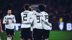 Indosport - Perayaan para pemain Jerman usai menang dari Belanda pada ajang UEFA Nations League, Selasa (20/11/18).