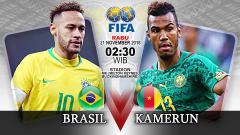 Indosport - Pertandingan Brasil vs Kamerun.