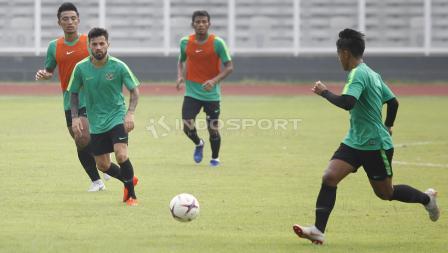 Latihan Timnas Indonesia jelang jawan Filipina.