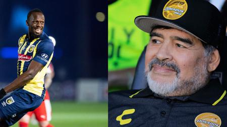 Mantan pelari dunia, Usain Bolt dan Diego Maradona, pelatih Darados sekaligus legenda sepak bola. - INDOSPORT