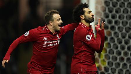 Selebrasi gol Mohamed Salah. - INDOSPORT