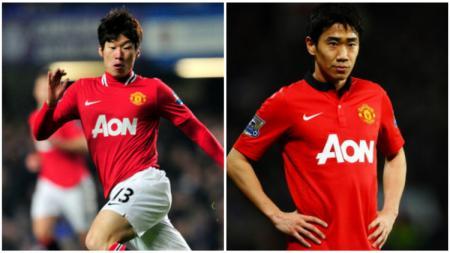 Park Ji-sung dan Shinji Kagawa ketika masih bermain di Manchester United. - INDOSPORT