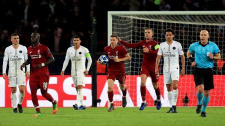 Gol James Milner di partai PSG vs Liverpool di Liga Champions, Kamis (29/11/18). - INDOSPORT