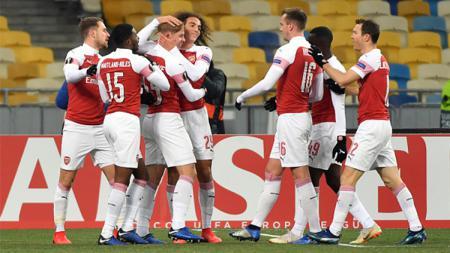 Perayaan gol di laga Vorskla Vs Arsenal. - INDOSPORT