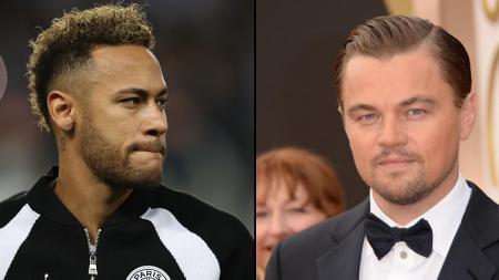 Pemain megabintang PSG,Neymar Jr dan Leonardo Di Caprio, aktor megabintang dunia. - INDOSPORT