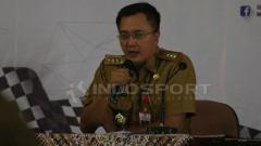 Indosport - Kadispora Jawa Timur Supratomo menjelaskan rincian kegiatan gerak jalan Mojokerto Surabaya.