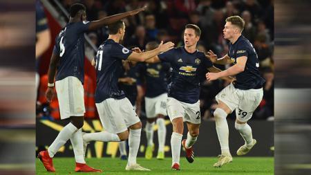 Selebrasi para pemain Manchester United. - INDOSPORT