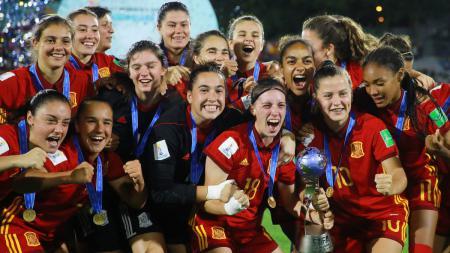 Tim Sepak Bola Wanita Spanyol U-17 menjadi juara Piala Dunia Wanita U-17 usai taklukan Meksiko dengan skor 2-1. - INDOSPORT