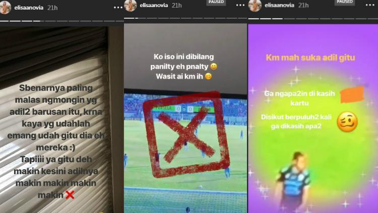 Protes kekasih Kim Kurniawan, Elisa Novia, dalam laga Persela vs Persib, Sabtu (01/12/18). Copyright: Instagram/Elisa Novia