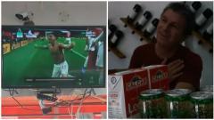 Indosport - Ekspresi kebahagiaan ayah Lucas Torreira ketika anaknya mencetak gol untuk Arsenal.