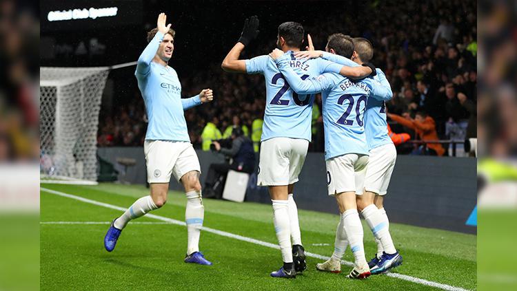Selebrasi para pemain Manchester City. Copyright: INDOSPORT