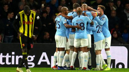 Selebrasi para pemain Manchester City. - INDOSPORT