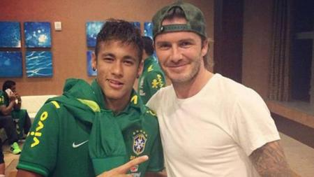 Neymar dan David Beckham pada tahun 2013. - INDOSPORT