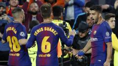 Indosport - Selebrasi para pemain Barcelona.