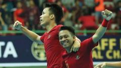 Indosport - Aksi selebrasi pemain Timnas Futsal Indonesia