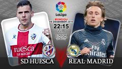 Indosport - Pertandingan SD Huesca vs Real Madrid.