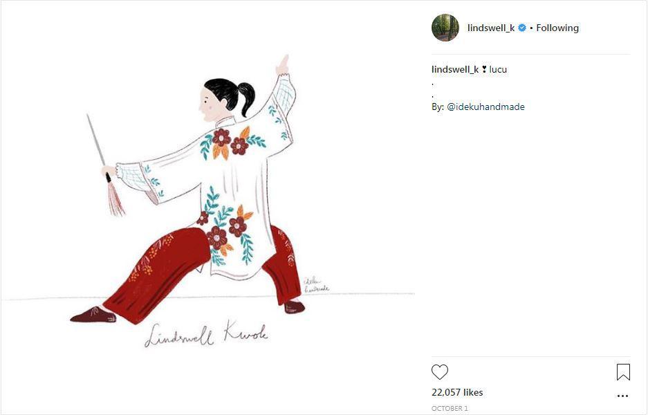 Potret seni digital dari Lindswell Kwok saat memeragakan jurus wushu. Copyright: Instagram.com/lindswell_kk