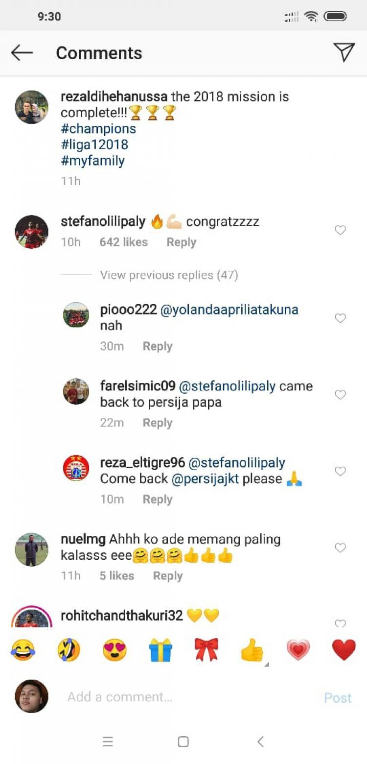 Ucapan Selamat Persija Juara. Copyright: Instagram