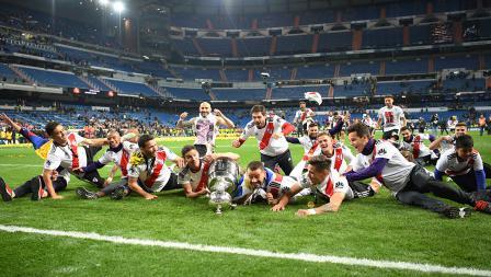 Aksi pemain River Plate merebut Copa Libertadores sebagai juara
