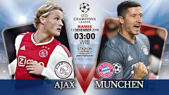 Indosport - Pertandingan Ajax vs Bayern Munchen.
