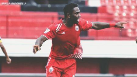 Osas Saha usai mencetak gol ke gawang Bogor FC di Piala Indonesia, rabu (12/12/18). - INDOSPORT