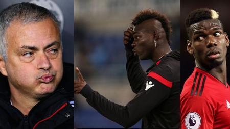 3 insan sepak bola, Jose Mourinho, Mario Balotelli, dan Paul Pogba. - INDOSPORT
