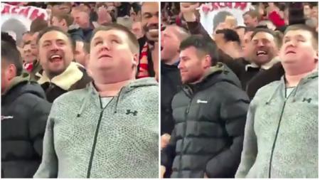 Suporter Liverpool bernama Mike Kearney yang memiliki gangguan penglihatan. - INDOSPORT